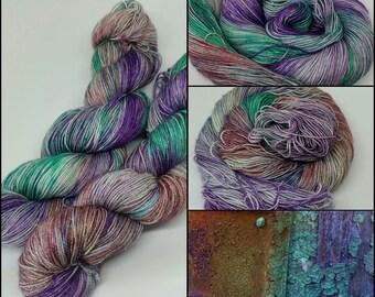 Rust and Paint - Sparkle Sock Yarn - Superwash Merino + Nylon + Stellina - 75/20/5 - Ready to ship