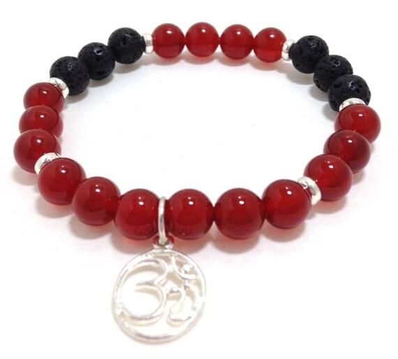 Carnelian Lava Bead Diffuser Bracelet- Essential Oil- Diffuser Aromatherapy - Lava Bead Essential Oil Diffuser Bracelet with Om charm