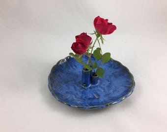 Ceramic Flower Vase, Stoneware, Ceramic, Hand Built Pottery, Handmade, Appetizer dish with toothpick holder, Home Decor, Housewarming gift