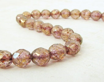 25pc - 8mm Beads, Copper Luster Fire Polished Czech Glass Beads, Faceted Round, Preciosa Faceted Bead