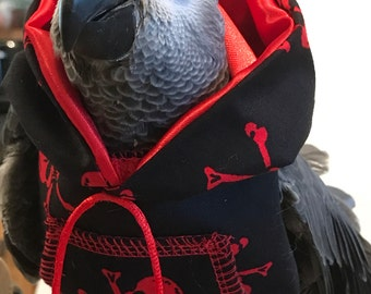 Parrot Hoody Blk and Red PIRATE - all sizes made Petite to Large