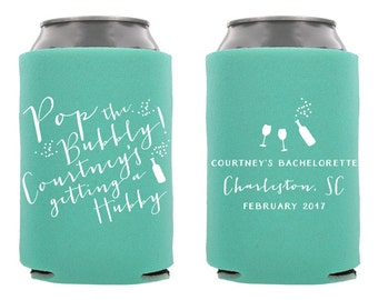 Bachelorette Can Cooler, Personalized Bachelorette Can Cooler, Custom Bachelorette Can Cooler, Pop the Bubbly, Bachelorette Party Favor