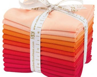 "Kona Cotton Fat Quarter Bundle ""Darling Clementine"" by Robert Kaufman -12 different fat quarters shades of coral to red."