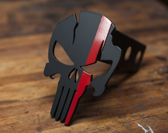 Punisher Warrior Trailer Hitch Cover - Thin Red Line