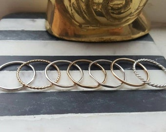 Stacking rings (TWO RINGS); gold, rose gold, sterling silver stacking rings; stackable rings; boho rings; simple rings