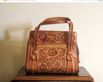 Football Days Sale Tooled Brown Leather Multi Zippered Compartment Handbag- Very Good Condition