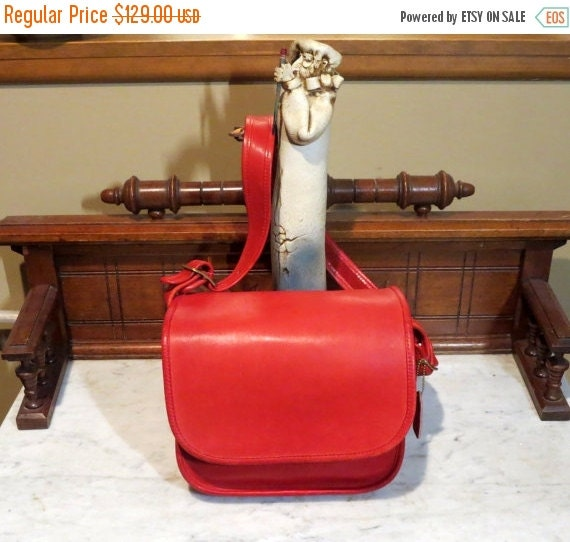 Football Days Sale Coach Classic Shoulder Bag -Red Leather Style No 9170 - Made in New York City USA-VGC- Rare Bag