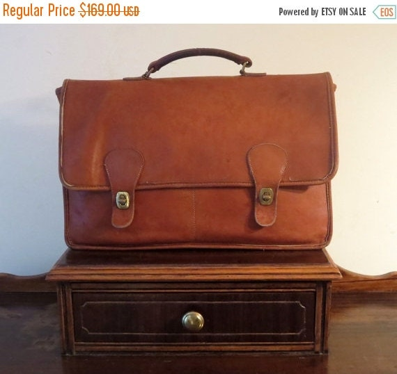 Football Days Sale Coach Diplomat British Tan Double Gusseted Briefcase Attache Laptop Case- Made In The 'Factory' In New York City - VGC