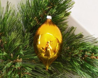 Vintage Hand Blown Glass Teardrop Christmas Ornament Made In West Germany