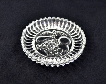Vintage Glass Trinket Tray With Fruit Design And Saw Tooth Rim
