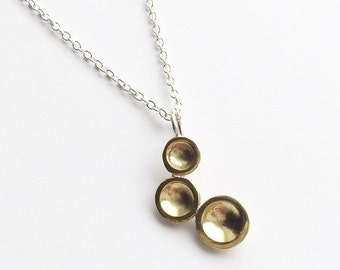 TRI DOT NECKLACE - Small Brass Pendant with Chain - Sterling Silver and Brass Circle Pendant Necklace