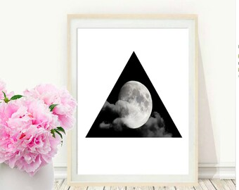 Moon Photo, Printable Art, Moon Photography,  Black And White, Photography,  Modern Wall Art, Instant Download, Wall decor