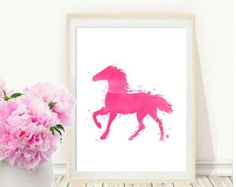 Horse Painting, Watercolor Horse, Printable Wall Art, Pink Horse Print,   Instant  Download, Modern Wall Print, Horse Art