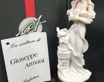"NEW Giuseppe Armani Sculpture miniature Lady with Doves in original box with paperwork 5"" tall on wood base"