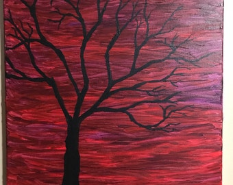 """Hand Painted Tree at Sunset 16""""x 20"""""""