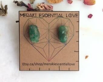 Emerald Earrings. Raw Emerald Earring Studs. Precious Gemstone Jewelry. Boho Jewelry.