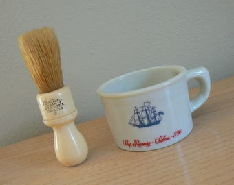 Old Spice Shaving Mug with Bakelite Brush, Grand Turk Salem 1786, Natural Bristle Brush, Shulton Shaving Mug, Men's Shaving Cup