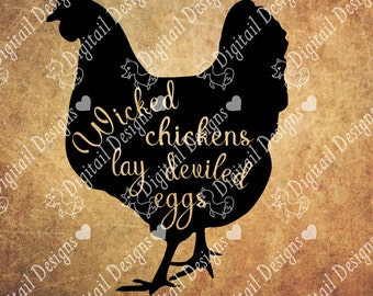 Chicken SVG - png - dxf - eps - fcm - ai - Cut file for Silhouette - Cricut - Wicked Chicken SVG - Chicken Cut File - Commercial Use SVG