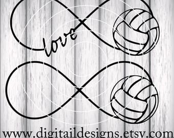 Volleyball Infinity SVG - Volleyball Love - png - dxf - eps - fem - ai - Cut file - Silhouette - Cricut - Volleyball SVG