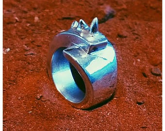 Sterling Silver Hand Crafted Horned Statement Ring