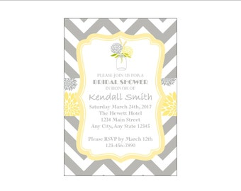 Yellow and Gray Chevron Bridal Shower Invitation