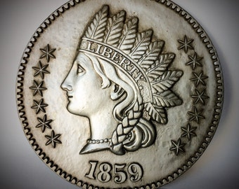 Vintage 1960's Burwood Over sized 12 inch Silver Toned Ceramic 1859 Indianhead Coin Wall Hanging Decor