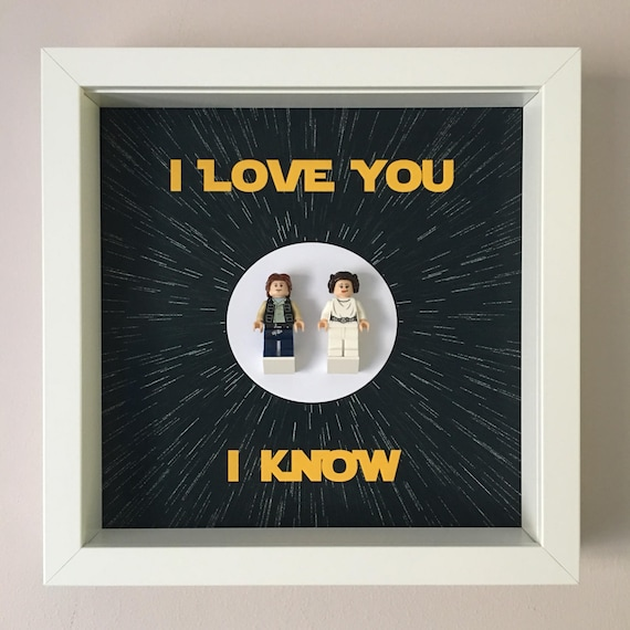 Han Solo & Princess Leia Frame, Mum, Gift, Geek, Box Frame, Friends, Dad, Idea, Birthday, Anniversary, Wedding, For Her, For Him, Friends