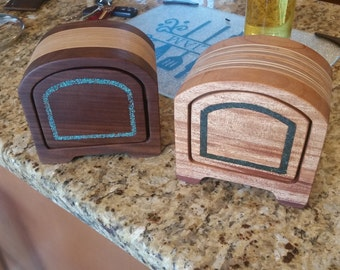 Custom made Wooden Keepsake/Jewelry boxes with stone inlay.