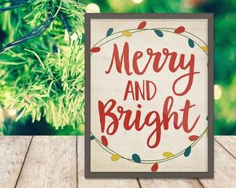 Merry and Bright Print - Christmas Print - Holiday Art - Christmas Quote - Digital Art - Printable Art - Wall Art