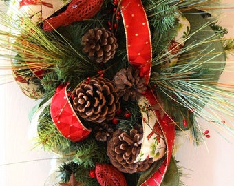 Red and Green Cardinal Pine Teardrop Swag Wreath with Red Berries and Pine Cones; Winter Holiday Decor Wreath Christmas Wall Decor Wreath