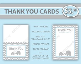 Elephant THANK YOU Cards -80% Off - Elephant Baby Shower - Blue & Gray Printable Baby Shower Decorations- Light Gray Pastel Pink - 22-15