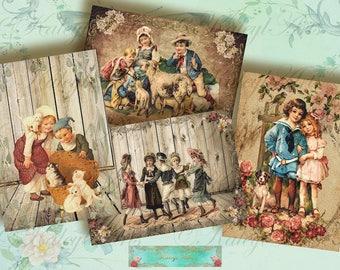 Kinder  .. Digital Collage Paper Tags, Digital Children , Digital Labels, Vintage Victorian Children Shabby Chic Scrapbook Supplies