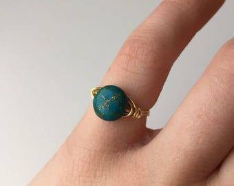 Best Seller! Small Teal & Gold Fleck Ring   Deep Teal Ring   Teal Ring   Teal Jewelry   Everyday Ring   Ring Gift for Her   Dark Teal Ring