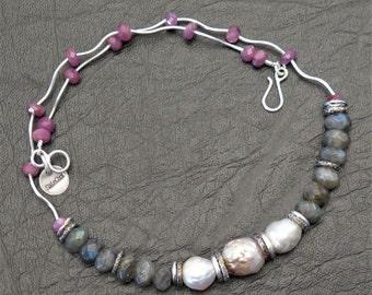 Massive silver necklace 950, Ruby, labradorites and Baroque pearls