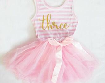 3rd Birthday Dress ~ Pink and Gold Birthday Outfit ~ 3rd Birthday Outfit Girl ~ 2nd Birthday Dress ~ Girl Birthday Tutu Dress ~ three dress