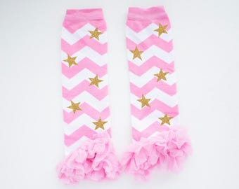 Pink and Gold Twinkle Twinkle Little Stars Leg Warmers Baby leg Warmers Girls Leg warmers Pink and Gold Birthday Outfit star leg warmers