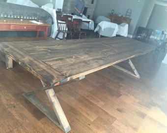 """The """"Tippecanoe"""" Farmhouse Kitchen Dining Table - Conference Table - Original Style - Industrial metal base - Ships throughout US, Indiana"""