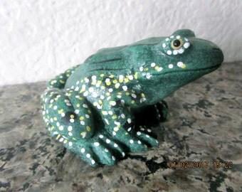 Ceramic frog handmade green yellow spots