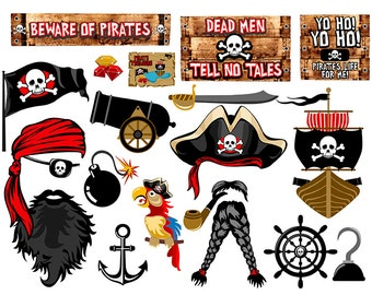 Pirates digital photo booth party props instant download
