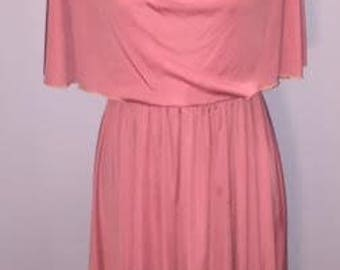 Vintage Pink Capelet Dress / no tags / likely a 7/8