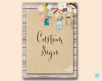 Burlap Mason Jars Custom sign, Bridal Shower Signs, Bridal Shower Decorations, Baby Shower Decorations, Wedding Decorations, BS498 TLC498