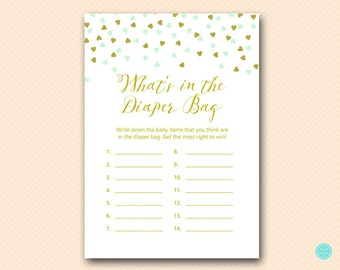 Mint And Gold Baby Shower Game, Whatu0027s In The Diaper Bag Game Printable,  Baby