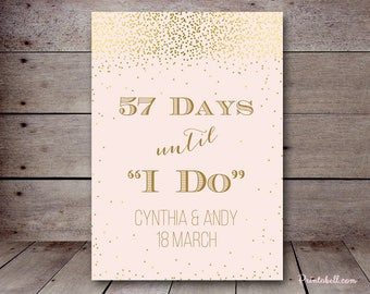 Pink and Gold Bridal Shower Decoration, Days until Wedding, Count Down to Wedding Sign, Bridal Shower Sign, bridal shower decor BS526 TLC526