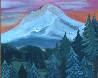 Acrylic on Wood Painting of Mountain and Woods