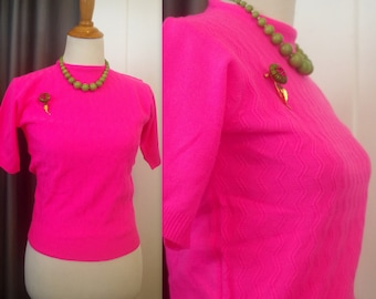 Vintage Fitted Sweater Pink Shortsleeve Korea Talia Acrylic 34 bust Stretch S Women