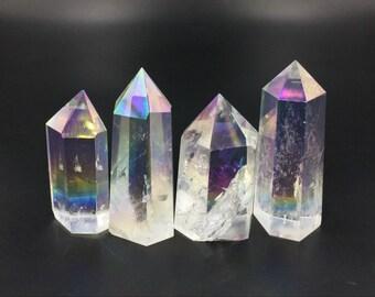 Angel Aura Quartz Crystal Tower Point Opal Aura Crystal Obelisk Standing Point Wand Meditation Healing Reiki Crystal Grid Generator Decor
