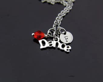 Ballerina Necklace, Silver Dance Charm Necklace, Dance Pendants, Dance Necklace, Personalized Necklace, Initial Charm, Initial Necklace