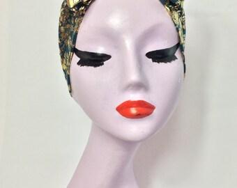 Gold & Teal turban bow