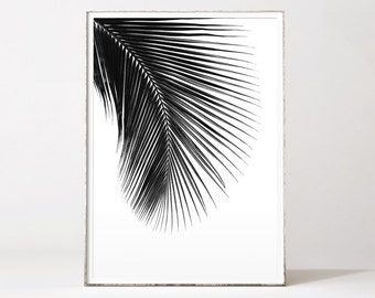 Palm leaf print, palm tree print, leaf print, black palm print, black and white palm tree, tropical poster, poster palm, palm tree art, palm