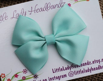 Aqua Bow Boutique Bow Mint hair bow girls